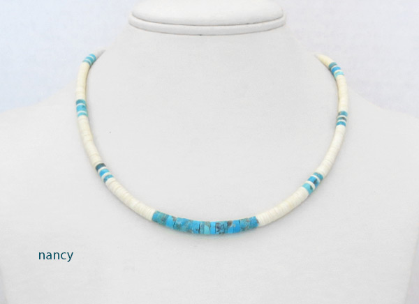 Image 1 of Turquoise White Clam Shell Heishi Necklace Santo Domingo Jewelry - 2026rio
