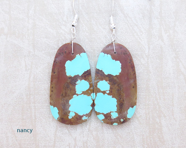 Native American Jewelry #8 Mine Turquoise Slab Earrings - 2034dt