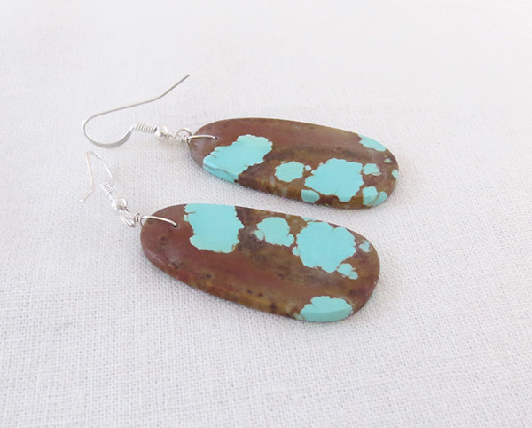 Image 1 of   Native American Jewelry #8 Mine Turquoise Slab Earrings - 2034dt