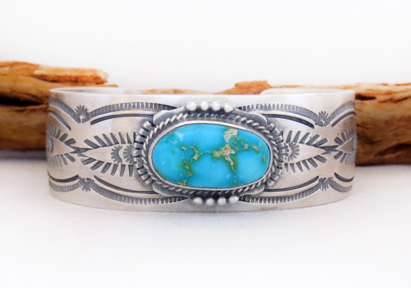 Sonoran Turquoise & Sterling Silver Bracelet Navajo Jewelry - 2039sn