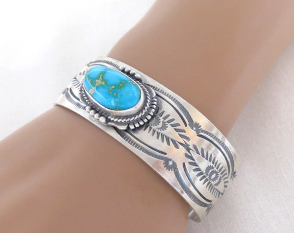 Image 1 of    Turquoise & Sterling Silver Bracelet Native American Jewelry - 2039sn