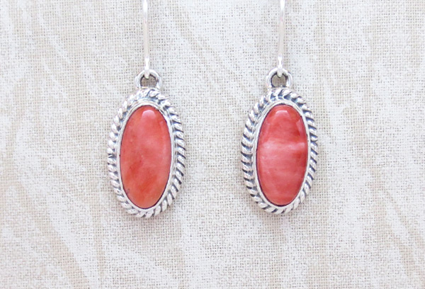Red Spiny Oyster & Sterling Silver Earrings Native American Jewelry - 2040sn
