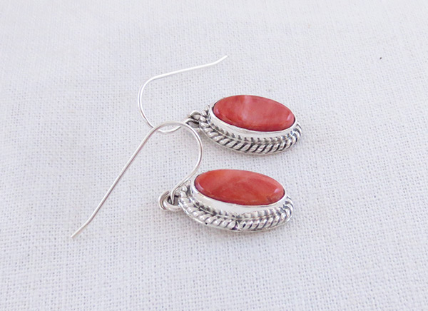 Image 1 of Red Spiny Oyster & Sterling Silver Earrings Native American Jewelry - 2040sn