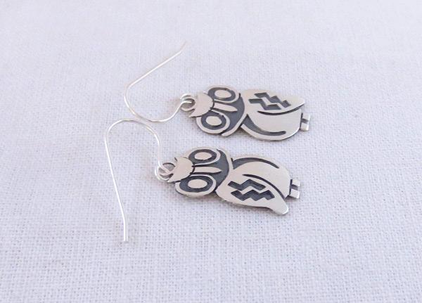 Image 1 of      Sterling Silver Owl Earrings Navajo Jewelry - 2041sn