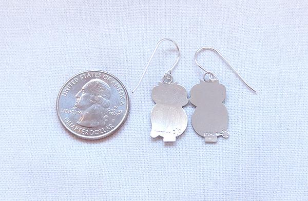 Image 2 of      Sterling Silver Owl Earrings Navajo Jewelry - 2041sn