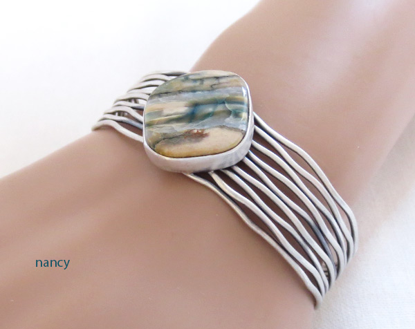Image 1 of     Navajo Jewelry Mammoth Tooth Stone & Sterling Silver Bracelet - 2043sn