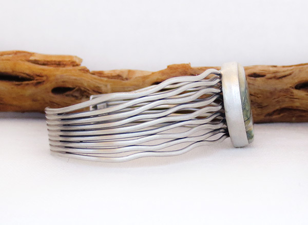 Image 2 of     Navajo Jewelry Mammoth Tooth Stone & Sterling Silver Bracelet - 2043sn