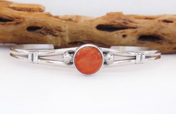 Spiny Oyster & Sterling Silver Bracelet Native American Jewelry - 2047sn