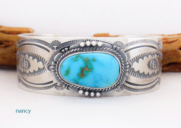Turquoise & Sterling Silver Bracelet Native American Jewelry - 2045sn