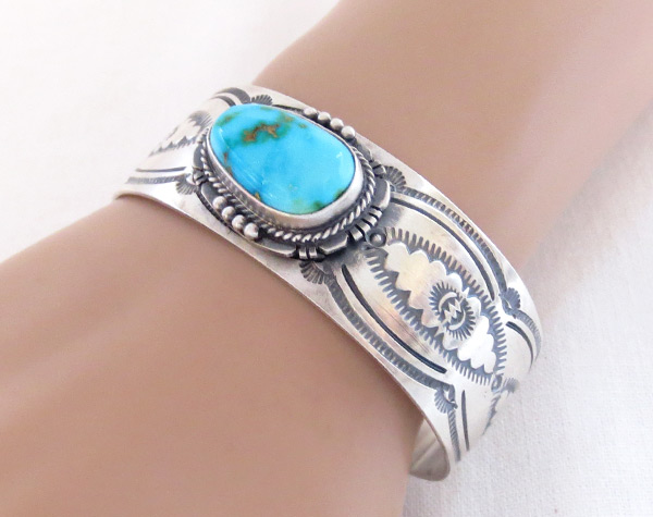 Image 1 of    Turquoise & Sterling Silver Bracelet Native American Jewelry - 2045sn