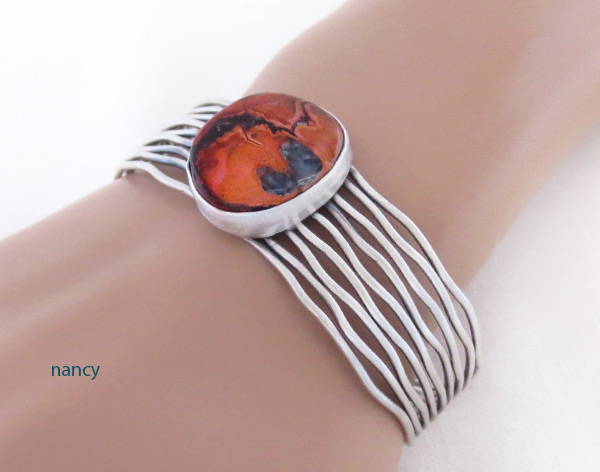 Image 1 of       Mammoth Tooth Stone & Sterling Silver Bracelet Navajo Jewelry - 2048sn