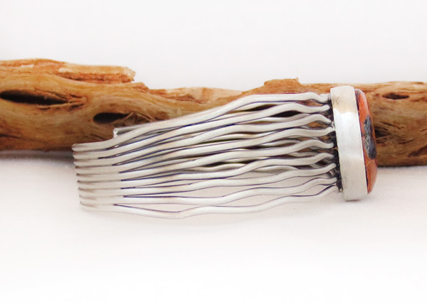Image 2 of       Mammoth Tooth Stone & Sterling Silver Bracelet Navajo Jewelry - 2048sn