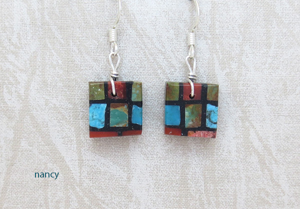 Image 0 of      Turquoise & Apple Coral Inlay Earrings Santo Domingo Jewelry - 2024rio
