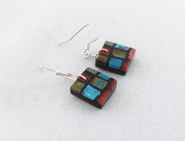 Image 1 of      Turquoise & Apple Coral Inlay Earrings Santo Domingo Jewelry - 2024rio