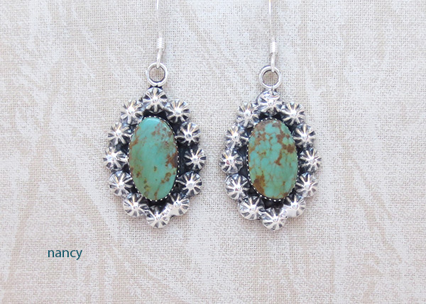 Turquoise & Sterling Silver Earrings Native American Jewelry - 2050rb