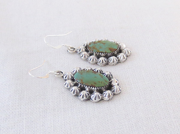 Image 1 of    Turquoise & Sterling Silver Earrings Native American Jewelry - 2050rb
