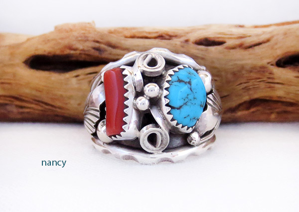 Classic Turquoise & Sterling Silver Ring Sz 9.75 Navajo Jewelry - 2054rb