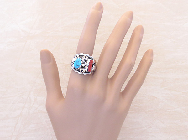 Image 1 of Classic Turquoise & Sterling Silver Ring Sz 9.75 Navajo Jewelry - 2054rb
