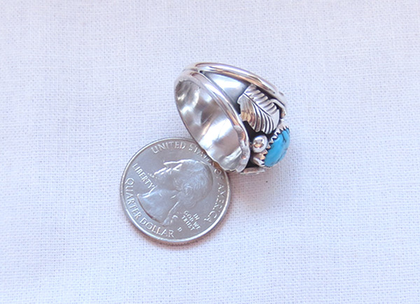 Image 3 of Classic Turquoise & Sterling Silver Ring Sz 9.75 Navajo Jewelry - 2054rb