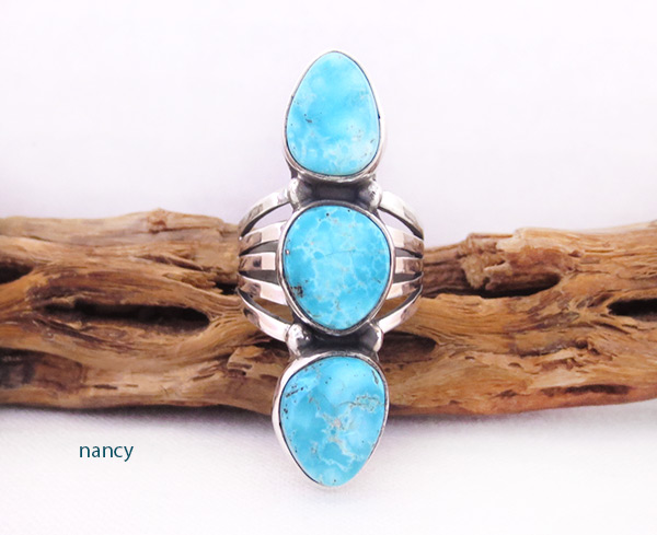 White Water Turquoise & Sterling Silver Ring Size 7 Navajo Jewelry - 2053sn
