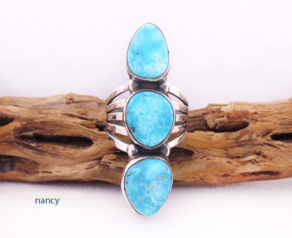 Image 0 of White Water Turquoise & Sterling Silver Ring Size 7 Navajo Jewelry - 2053sn