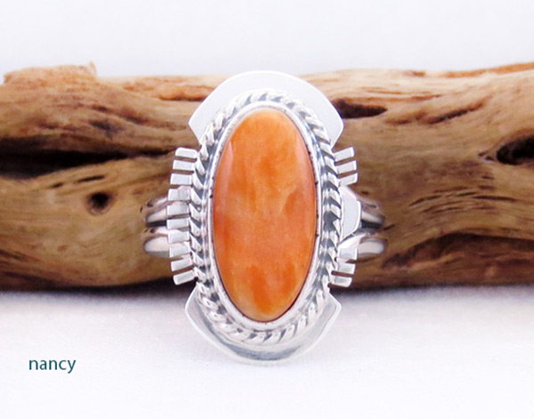 Native American Jewelry Spiny Oyster & Sterling Silver Ring Sz 9 - 2056sn