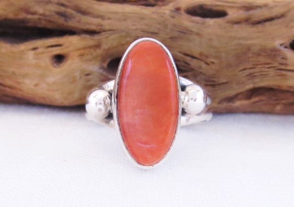 Red Spiny Oyster & Sterling Silver Ring Sz 5.75 Navajo Jewelry - 2051sn