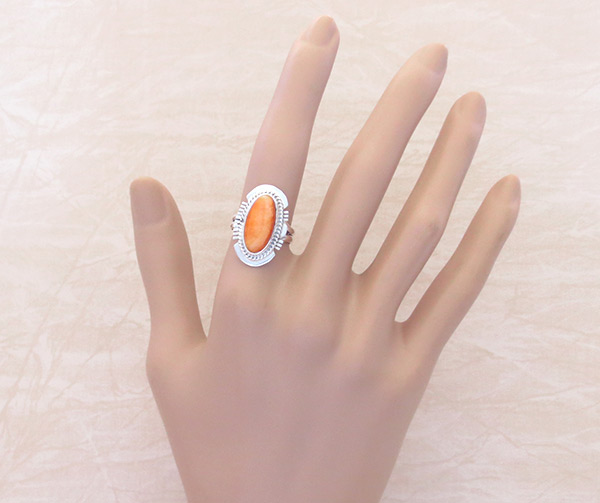 Image 1 of Native American Jewelry Spiny Oyster & Sterling Silver Ring Sz 6 - 2059sn