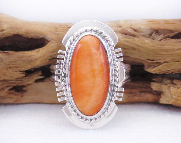 Native American Jewelry Spiny Oyster & Sterling Silver Ring Sz 6 - 2059sn