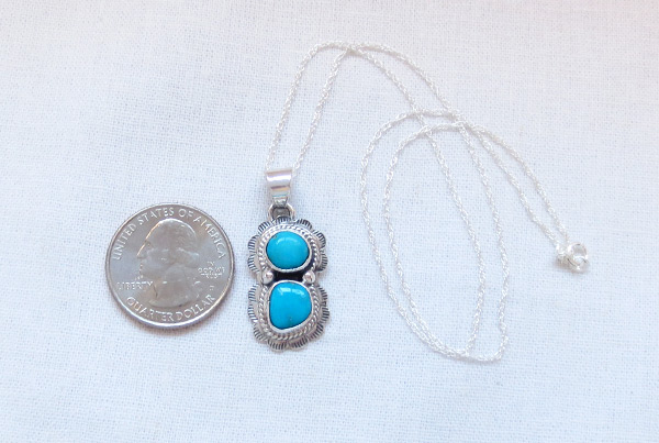 Image 1 of Small Turquoise & Sterling Silver Pendant Native American Jewelry - 2049sn