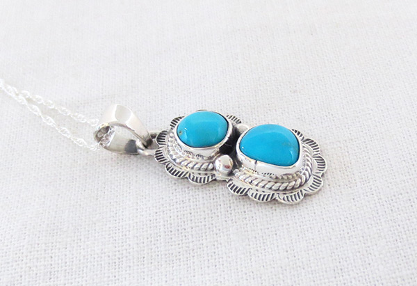 Image 2 of       Small Turquoise & Sterling Silver Pendant Native American Jewelry - 2049sn