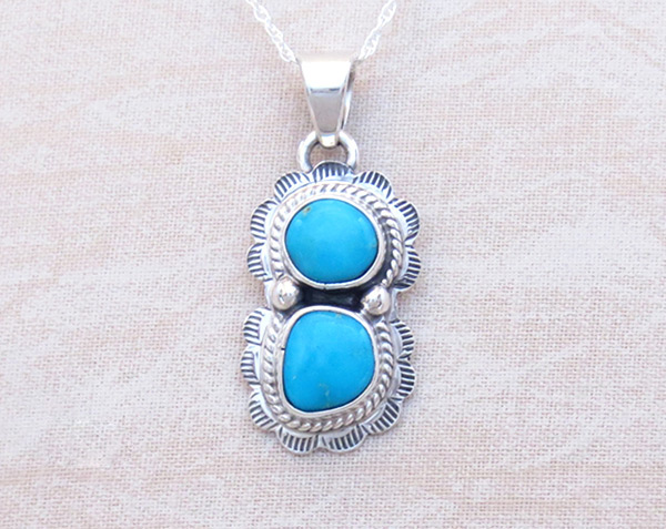 Image 0 of   Small Turquoise & Sterling Silver Pendant Native American Jewelry - 2049sn