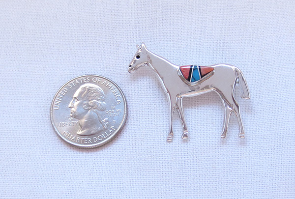 Image 1 of     Turquoise Inlay & Sterling Silver Horse Pin / Brooch Navajo Jewelry - 3206sn