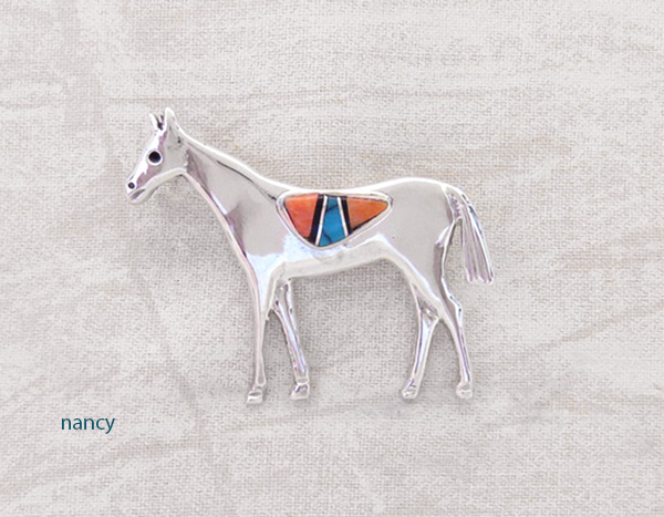 Image 0 of     Turquoise Inlay & Sterling Silver Horse Pin / Brooch Navajo Jewelry - 3206sn