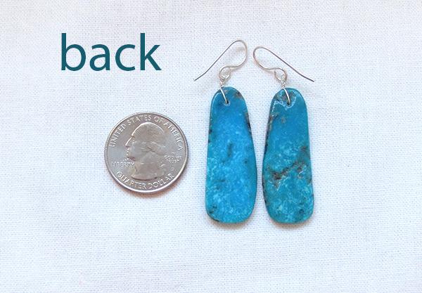 Image 2 of     Turquoise Slab Earrings Native American Jewelry Kewa - 3209rio