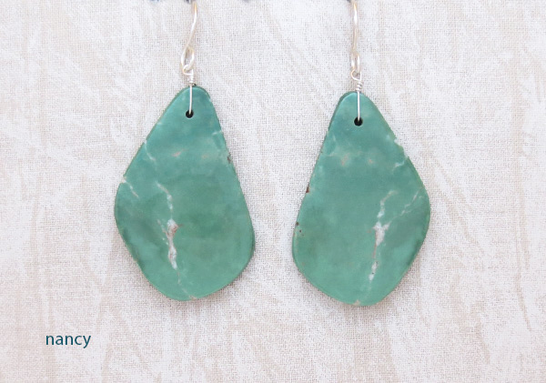 Image 0 of    Turquoise Slab Earrings Native American Jewelry Kewa - 2038rio