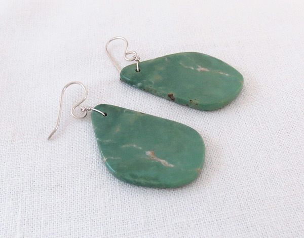 Image 1 of    Turquoise Slab Earrings Native American Jewelry Kewa - 2038rio