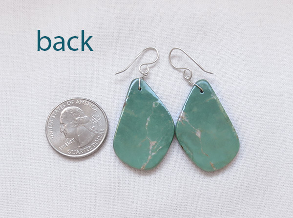 Image 2 of    Turquoise Slab Earrings Native American Jewelry Kewa - 2038rio