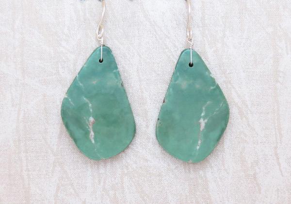 Image 0 of    Turquoise Slab Earrings Native American Jewelry Kewa - 2038rio