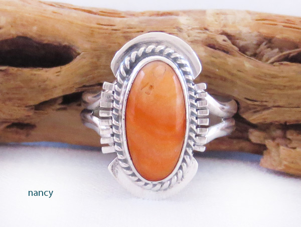 Native American Jewelry Spiny Oyster & Sterling Silver Ring Sz 7.5 - 3208sn