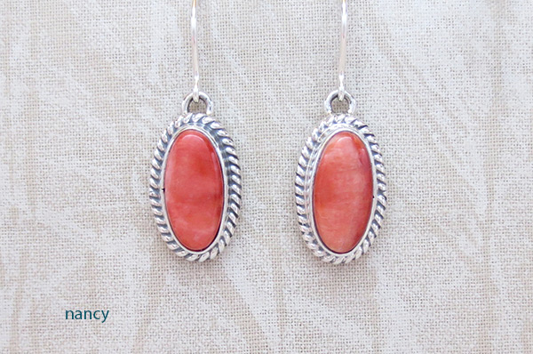 Red Spiny Oyster & Sterling Silver Earrings Native American Jewelry - 3214sn