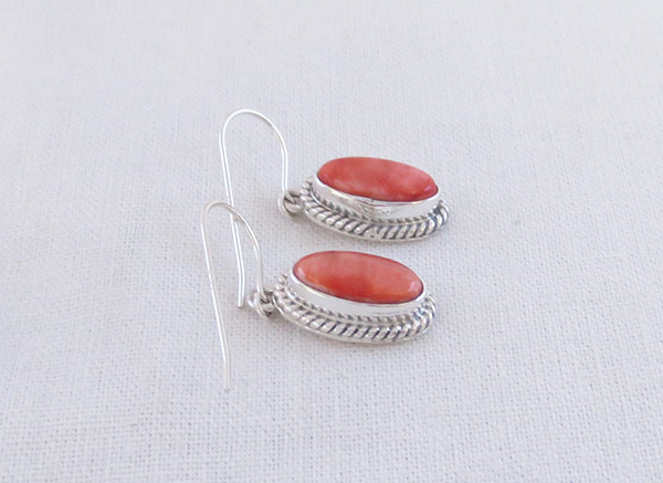 Image 1 of     Red Spiny Oyster & Sterling Silver Earrings Native American Jewelry - 3214sn