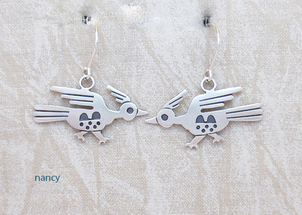 Image 0 of Sterling Silver Roadrunner Earrings Navajo Jewelry - 3215sn