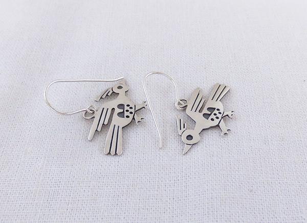 Image 1 of Sterling Silver Roadrunner Earrings Navajo Jewelry - 3215sn