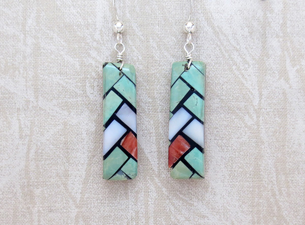 Image 0 of     Mosaic Turquoise Inlay Earrings Santo Domingo Jewelry - 3217rio