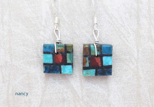 Image 0 of     Turquoise & Apple Coral Inlay Earrings Santo Domingo Jewelry - 3216rio