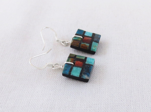 Image 1 of     Turquoise & Apple Coral Inlay Earrings Santo Domingo Jewelry - 3216rio