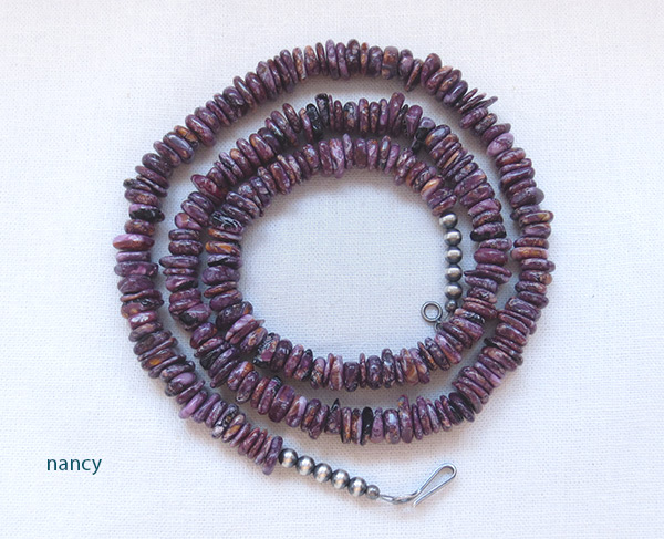 Purple Spiny Oyster Necklace 23 Native American Jewelry - 3224ft