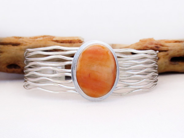 Image 0 of     Orange Spiny Oyster & Sterling Silver Bracelet Navajo Jewelry - 3225sn
