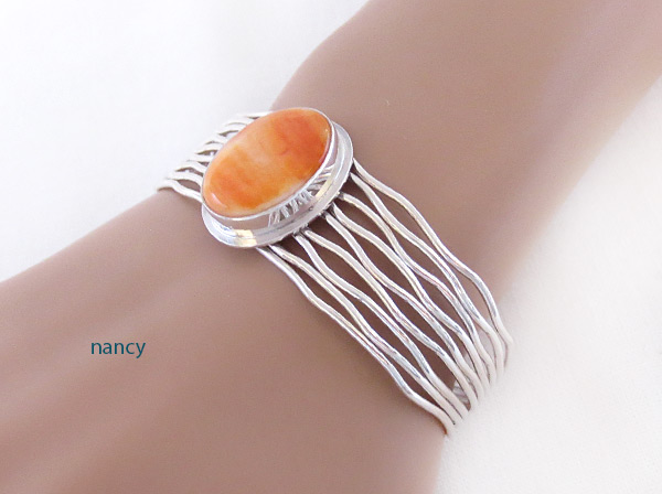Image 1 of     Orange Spiny Oyster & Sterling Silver Bracelet Navajo Jewelry - 3225sn